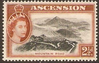 Ascension 1956 2½d Black and orange-brown. SG61.