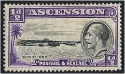 Ascension 1934 ½d Black and violet. SG21.