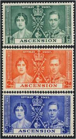 Ascension 1937 Coronation Stamp Set. SG35-SG37.