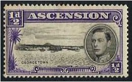 Ascension 1938 ½d. Black and Violet. SG38.