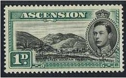 Ascension 1938 1d. Black and Green. SG39.