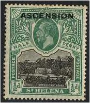Ascension 1922 ½d. Black and Green. SG1.