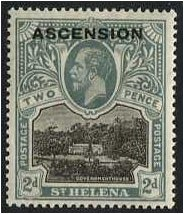 Ascension 1922 2d. Black and Grey. SG4.
