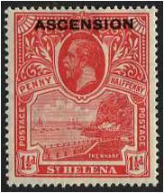 Ascension 1922 1½. Rose-Scarlet. SG3.
