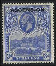 Ascension 1922 3d. Bright Blue. SG5.