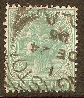 South Australia 1876 1d Pale green. SG175.