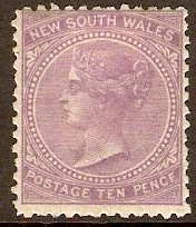 New South Wales 1867 10d Lilac. SG205.