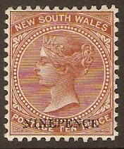 New South Wales 1882 9d on 10d Red-brown. SG236d.
