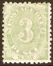 New South Wales 1891 3d Green Postage Due. SGD4a.