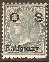 New South Wales 1891 ½d on 1d Grey Official Stamp. SGO55.