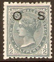 New South Wales 1892 ½d Grey Official Stamp. SGO58a.