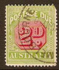 Australia 1938 2d Carmine and green - Postage Due. SGD112.