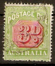 Australia 1938 3d Carmine and green - Postage Due. SGD115.