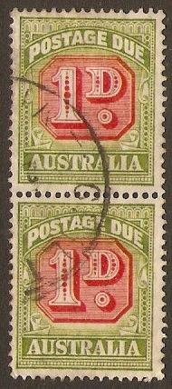 Australia 1946 1d Carmine and green - Postage Due. SGD120.