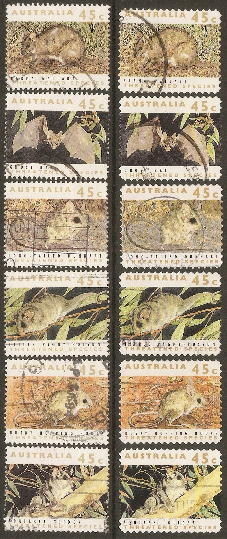 Australia 1992 Threatened Species set. SG1312-SG1317.