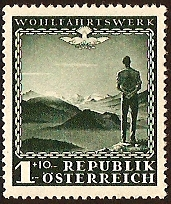 Austria 1945 1s + 10s Blue-green. SG905.