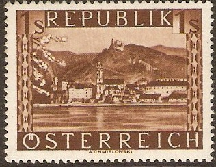 Austria 1945 1s Brown - Views Series. SG952A.