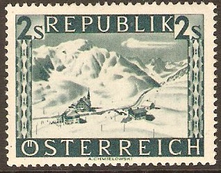 Austria 1945 2s Deep bluish green - Views Series. SG953A.
