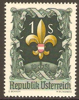 Austria 1951 1s. Red Yellow and Green. SG1231.