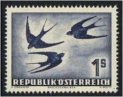 Austria 1950 1s. Deep Violet-Blue Air Stamp (Birds). SG1216.