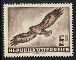Austria 1950 5s. Chocolate Air Stamp (Birds). SG1219.