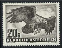 Austria 1950 20s. Blackish Brown Air Stamp (Birds). SG1221.