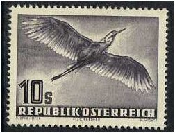 Austria 1950 10s. Slate-Purple Air Stamp (Birds). SG1220.