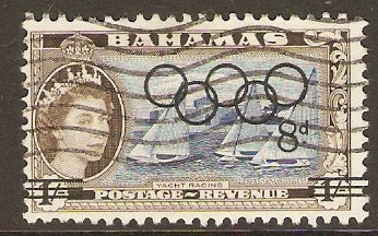 Bahamas 1964 8d on 1s Olympic Games Stamp. SG245.