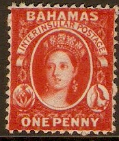 Bahamas 1863 1d Red. SG24.