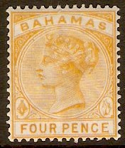 Bahamas 1884 4d Deep yellow. SG53.