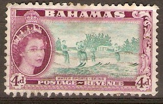 Bahamas 1954 4d Turquoise-green and deep reddish purple. SG206.