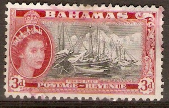 Bahamas 1954 3d Black and carmine-red. SG205.
