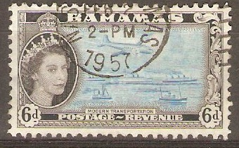 Bahamas 1954 6d Light blue and black. SG208.