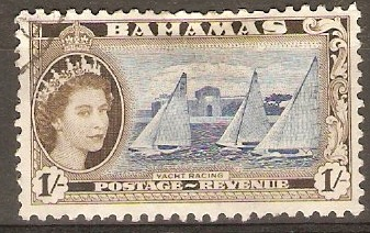 Bahamas 1954 1s Ultramarine and deep olive-sepia. SG211a.