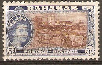 Bahamas 1954 5d Red-brown and deep bright blue. SG207.
