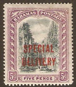 Bahamas 1918 5d Black and mauve Special Delivery Stamp. SGS3.