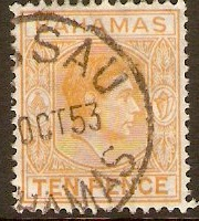 Bahamas 1938 10d. Yellow-Orange. SG154c.