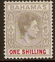 Bahamas 1938 1s Pale brownish grey and crimson. SG155d.