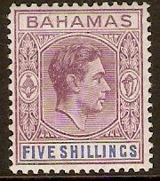 Bahamas 1938 5s Brown-purple and deep bright blue. SG156d.