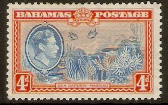 Bahamas 1938 4d Light blue and red-orange. SG158.