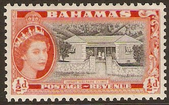 Bahamas 1954 ½d Black and red-orange. SG201.