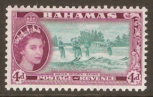 Bahamas 1954 4d Turq.-green and deep reddish purple. SG206.