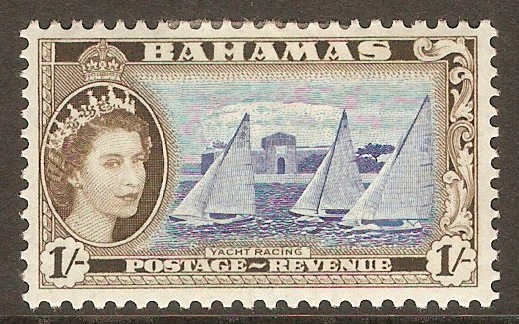 Bahamas 1954 1s Ultramarine and olive-brown. SG211.
