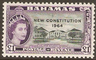 Bahamas 1964 £1 New Constitution Series. SG243.