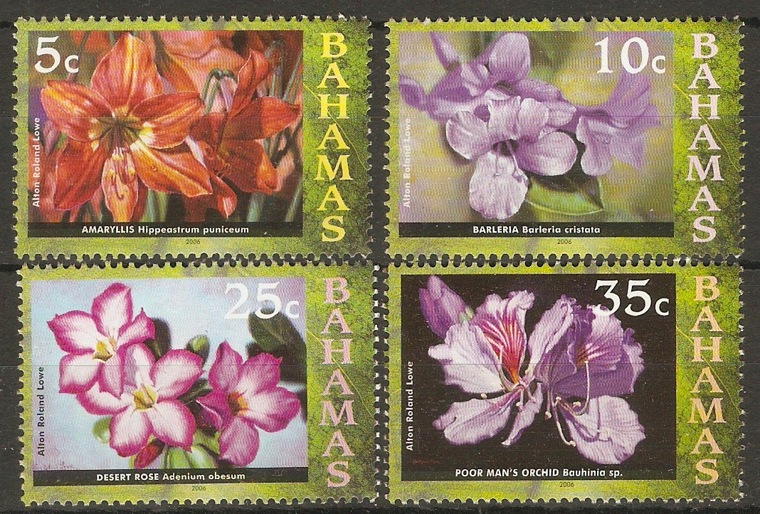 Bahamas 2006 Flowers series - low value sequence. SG1425-SG1428.