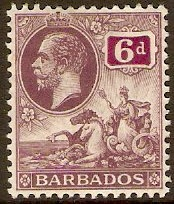 Barbados 1912 6d Dull purple and purple. SG177.