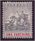 Barbados 1892 ¼d Slate-grey and carmine. SG105.
