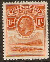 Basutoland 1933 1s Red-orange. SG7.