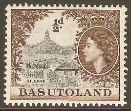 Basutoland 1954 ½d Grey-black and sepia. SG43.