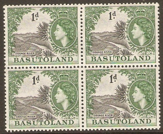 Basutoland 1954 1d Grey-black and bluish green. SG44.